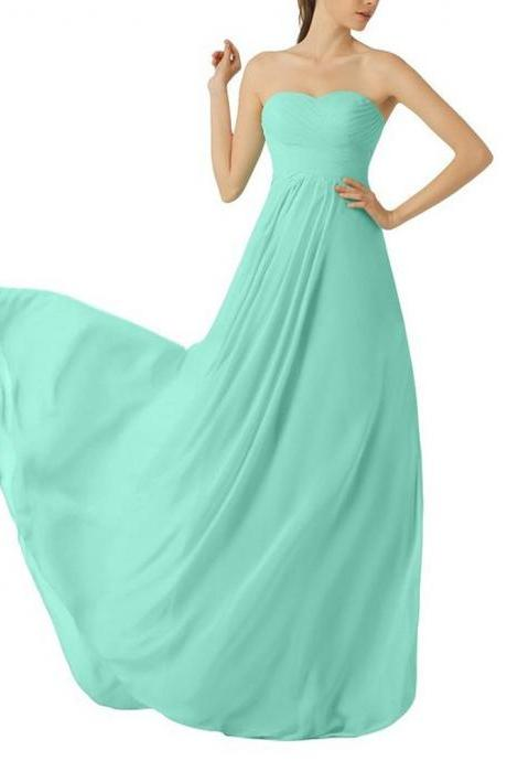 Mint Green Bridesmaid Dress,Floor Length Chiffon Strapless Bridesmaid Dresses,Elegant Long Cheap Strapless Prom Dresses Party Evening Gown