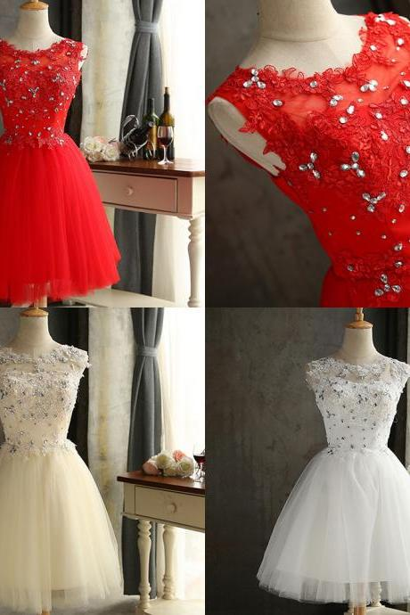 2017 Sparkly Short Tulle Prom Dress With Rhinestone Lace Applique Sheer Bateau Neckline , Graduation Dresses 2017,Party Dresses,Short Homecoming Dresses
