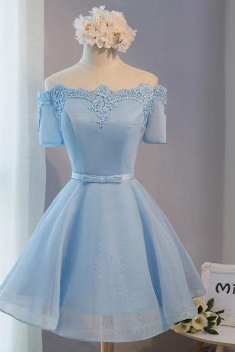Light Blue Bridesmaid Dress,Short Bridesmaid Dresses,Short Sleeve Bridesmaid Dresses, Bridesmaid Dresses,Tulle Bridesmaid Dresses,Sexy Bridesmaid Dresses