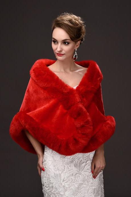 Red Bolero Cape and Poncho Wraps Fur Scarf Shawl Fashion Bridal Cloak Stole