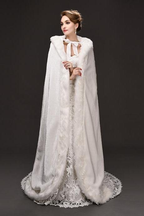 Ivory Long Women's Faux Fur Shawl Wrap Cape for Bridal Wedding Party Scarves Hooded Cardigan