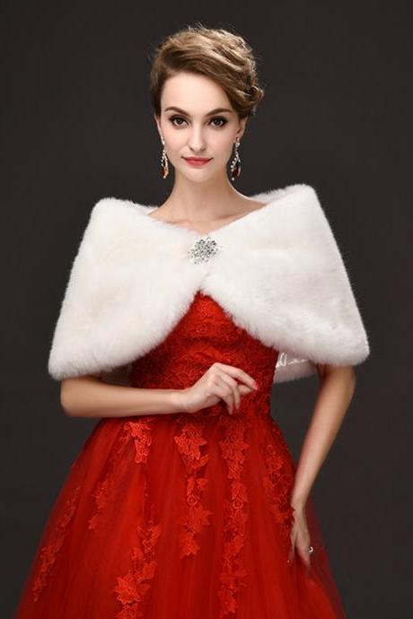 2017 Cheap Faux Fur Cape Wrap Shawl Poncho Bridal Bolero