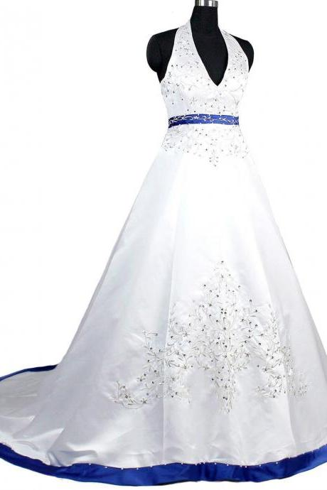 Royal Blue Wedding Dresses Long New Satin Halter Beaded Sequined Chapel Train Wedding Bridal Gowns