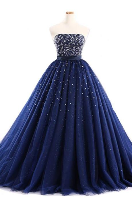 Luxury Dark Navy Blue Ball Gown Prom Dresses Tulle Sweetheart Evening Gowns With Beaded Bodice