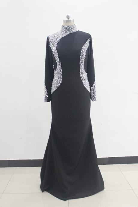 Luxury Long Sleeve Black Mermaid Prom Dresses With See Through Back Evening Gowns With High Neck