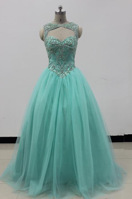 2019 Turquoise Tulle Evening Dress Beaded Quinceanera Dresses Ball Gown For 15 Prom Party Dress Custom Prom Gowns Sweet 16 Dresses