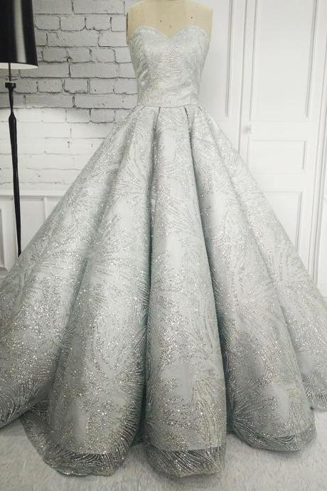 Luxury Ball Gown Grey Sparkly Wedding Dresses 2017 Long Sweetheart Chapel Train Beaded Embroidery Bridal Gown