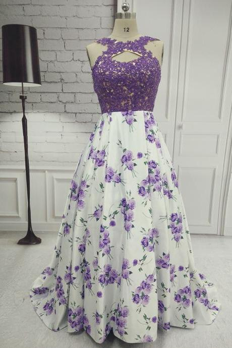 Long Purple A Line Prom Dresses With Lace Applique Bodice And Print Floral Skirt