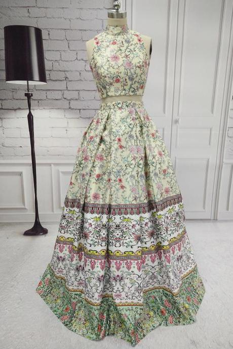 Long Elegant Print Floral Prom Dresses With High Neck ,Two Piece Evening Dress