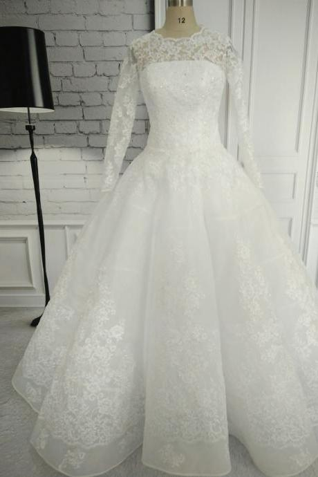 Custom Made White Ball Gown Long Sleeve Wedding Dresses 2017 Floor Length Lace Bridal Gown