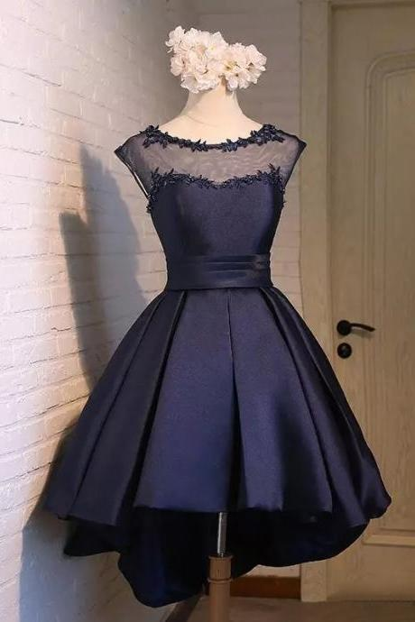 Elegant High Low Navy Blue Prom Dresses, Sheer Neck Satin Prom Dresses, Short Prom Dress, Mini Prom Dress, Homecoming Dress