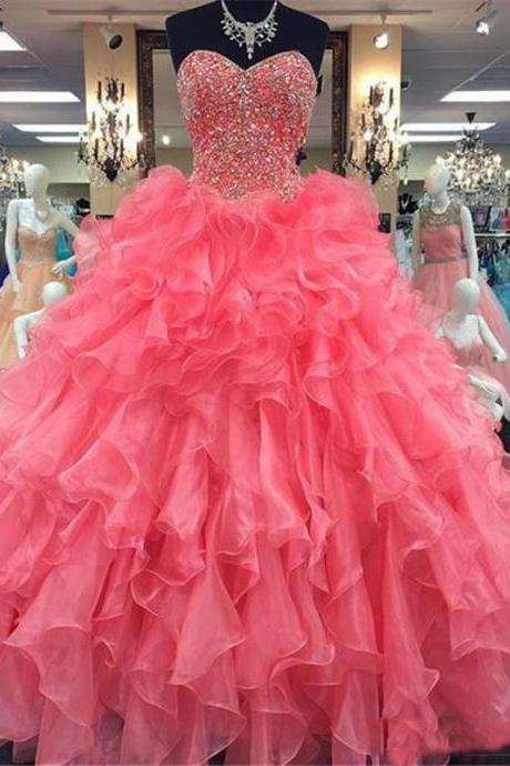 Prom Dress,Watermelon Red Prom Dress,Quinceanera Dresses,Ball Gown Prom Dresses,Long Elegant Prom Dress,Sweet 16 Dresses,Organza Prom Dresses,2017 Prom Dresses,Prom Dresses,Sexy Evening Dresses