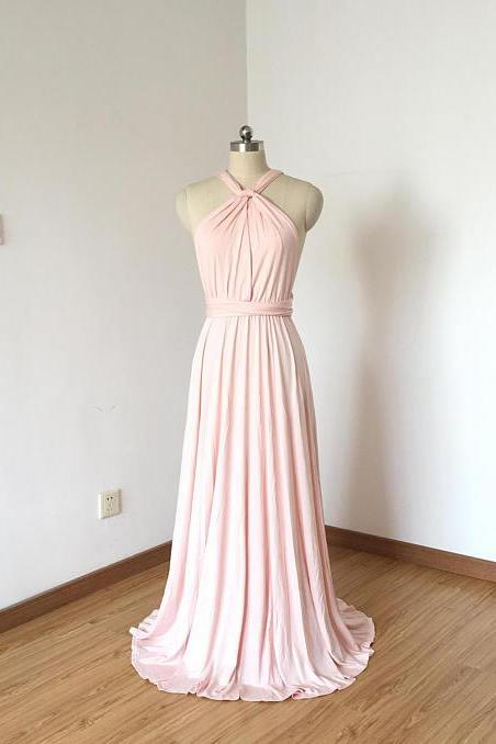 Sexy Long Pink Prom Dresses Featuring Halter Neckline -- Sexy A Line Chiffon Formal Dress, Party Dresses