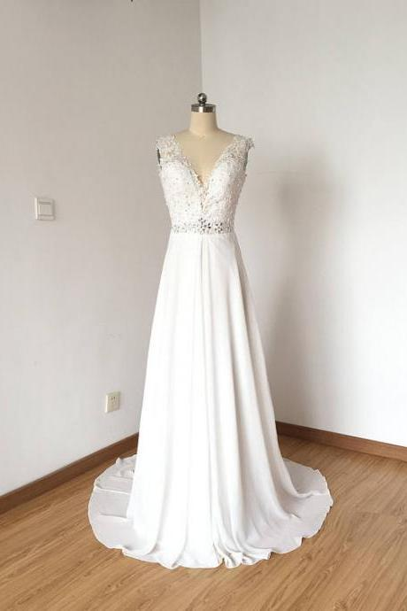 Lace Appliques Plunge V Sleeveless Floor Length Chiffon A-Line Wedding Dress Featuring Open Back and Train