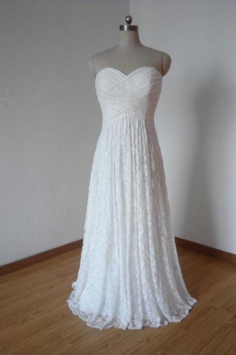 Lace Sweetheart Floor Length A-Line Wedding Dress Featuring Lace-Up Back