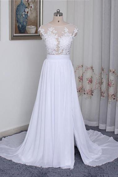 Lace Appliques Mesh Crew Neck Cap Sleeves Floor Length Chiffon A-Line Wedding Dress Featuring Slit and Sweep Train