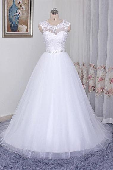 Ball Gown,Wedding Gowns,Lace Applique Wedding Dress,Chapel Train Wedding Dress, Wedding Dresses,White Wedding Dresses,Bridal Dresses,Wedding Dress,2018 Wedding Dresses,Tulle Wedding Dress, Vintage Wedding Dresses,Wedding Gowns,Bridal Gown