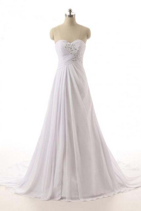 Beaded Embellished Ruched Sweetheart Floor Length Chiffon A-Line Wedding Dress Featuring Lace-Up Back and Train