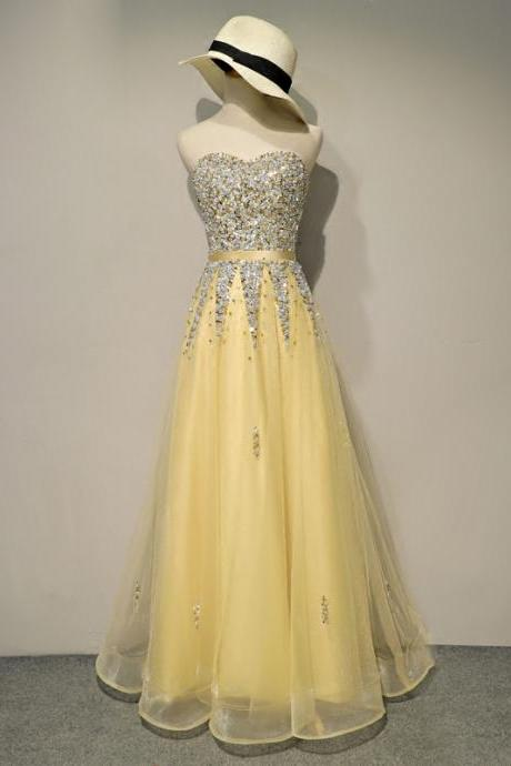 Brilliant Long Yellow Tulle Rhinestone Prom Dresses Featuring Sweetheart Neckline -- Sexy Lace-Up Formal Dress, Party Dresses