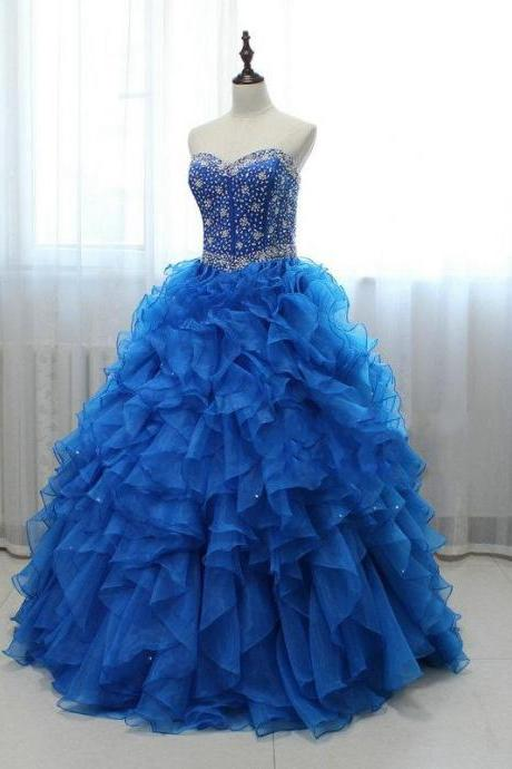 Long Royal Blue Blue Beaded Organza Prom Dresses Featuring Sweetheart Neck -- Sexy Formal Dress, Party Dresses, Ball Gown