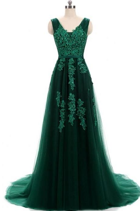 Hunter Green Lace Applique Tulle Prom Dresses Featuring V Neck And Lace-up -- Sexy Formal Dress, Party Dresses