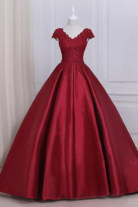 Burgundy Satin Lace Applique Prom Dresses Featuring Scoop Neckline -- Long New Formal Dress, Party Dresses