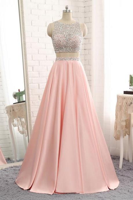 Sexy Pink Evening Dresses With Scoop Neck Long Elegant Backless 2 Piece Prom Dresses Formal Gowns