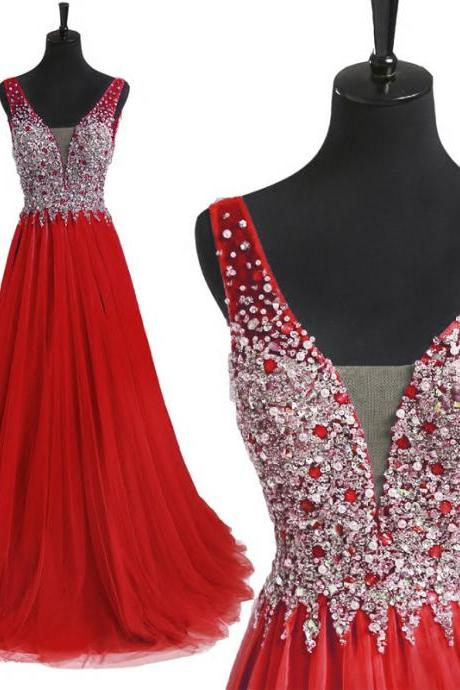 Sexy Red Floor Length Sweetheart Beaded Backless Prom Dress , Party Dresses, Evening Dresses, Long Prom Dress 2016,Graduation Dresses