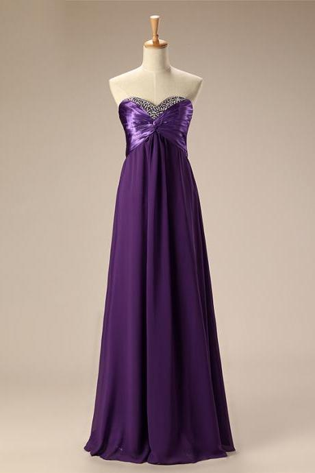 Sexy Strapless Chiffon Purple Bridesmaid Dress,Floor Length A Line Burgundy Bridesmaid Dresses,Elegant Long Cheap Prom Dresses Party Evening Gown