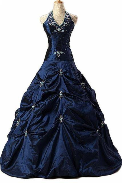 Brilliant Navy Blue Long Prom Dresses Featuring Halter Neckline -- Sexy Beaded Formal Dress, Party Dresses