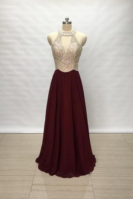 Charming Long Burgundy Chiffon Prom Dresses Featuring Halter Neckline -- Sexy Beaded Formal Dress, Party Dresses
