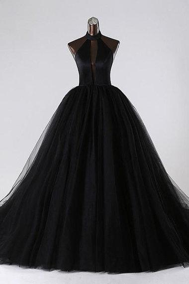 Sexy Black Tulle Backless Prom Dresses Featuring Halter Neckline And Deep V Neck