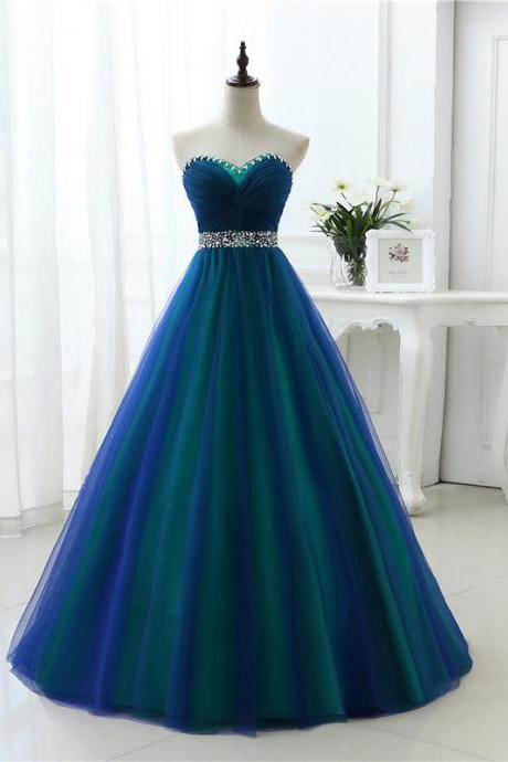 New Arrival Floor Length Tulle Prom Dresses Featuring Sweetheart Neckline And Lace-up Back