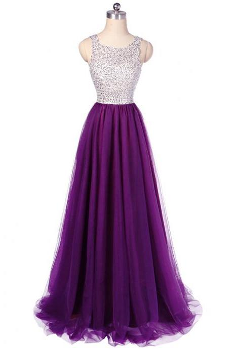luxury new long purple beaded tulle prom dresses featuring scoop neckline