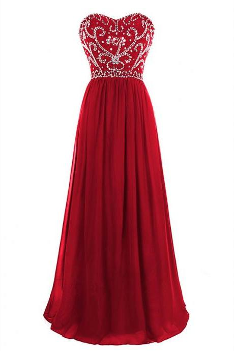 Red Long Chiffon A-Line Formal Dress Featuring Beaded Bodice And Lace-Up Back,Long Elegant Prom Dresses