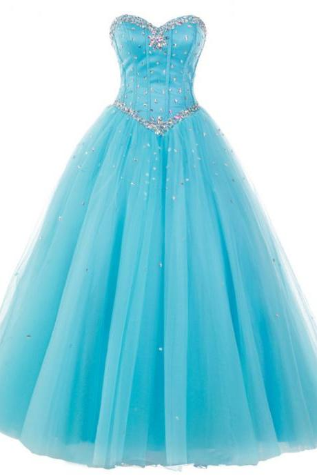 Blue Long Tulle Formal Dress Featuring Rhinestone Bodice And Lace-Up Back,Long Elegant Prom Dresses