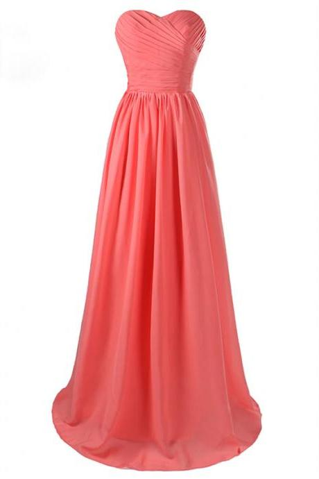 New Arrival Coral Long Chiffon Sweetheart Formal Party Dress ,Long Elegant Prom Dresses