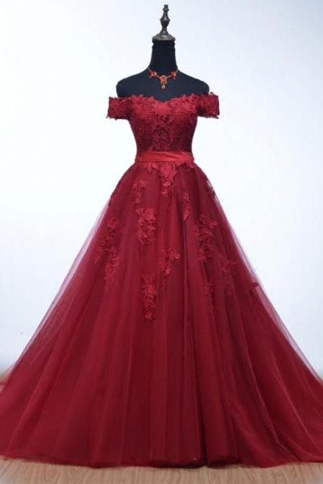 Charming Burgundy Evening Dresses With Off The Shoulder Long Elegant Lace Applique Tulle Prom Dresses Formal Gowns