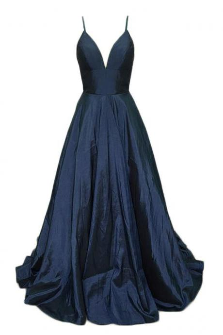 Sexy Navy Blue Bridesmaid Dress,Floor Length A Line Dark Blue Bridesmaid Dresses,Elegant Long Cheap Prom Dresses Party Evening Gown