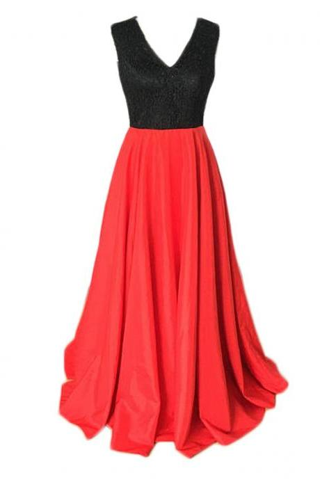 Charming Red And Black A Line Prom Dresses Satin Evening Gowns With V Neck And Beaded Bodice