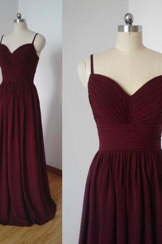 Charming Long New Burgundy Bridesmaid Dress,Floor Length A Line Bridesmaid Dresses,Elegant Long Cheap Prom Dresses Party Evening Gown