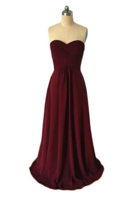 New Arrival Burgundy Bridesmaid Dress,Floor Length A Line Burgundy Bridesmaid Dresses,Elegant Long Cheap Prom Dresses Party Evening Formal Gowns