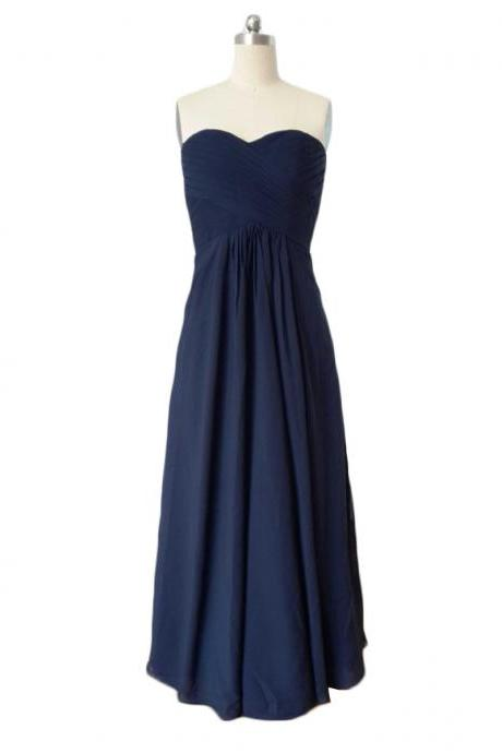 Custom Made Navy Blue Sweetheart Neckline Ruched Chiffon A Line Guest Wedding Dress, Bridesmaid Dress