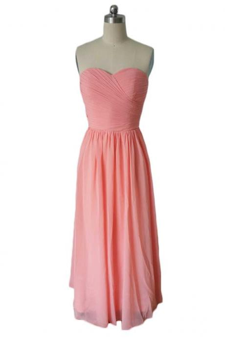 Pink Ruched Sweetheart Neckline Chiffon Long Bridesmaid Dress