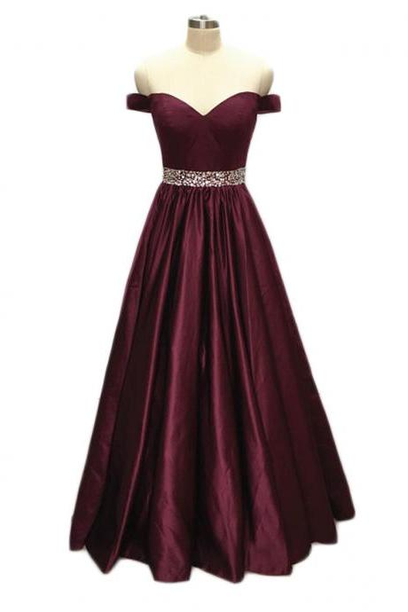 Elegant Long Burgundy A Line Prom Dresses With Beaded Belt, Floor Length Off The Shoulder V Neck Evening Dresses 2018 Real Photo Women Party Dresses Formal Gowns