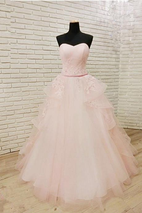 Amazing Tulle Floor Length Strapless Pink Prom Dress ,Lace Applique Prom Dresses With Belt, Party Dresses, Evening Dresses, Long Prom Dress 2018