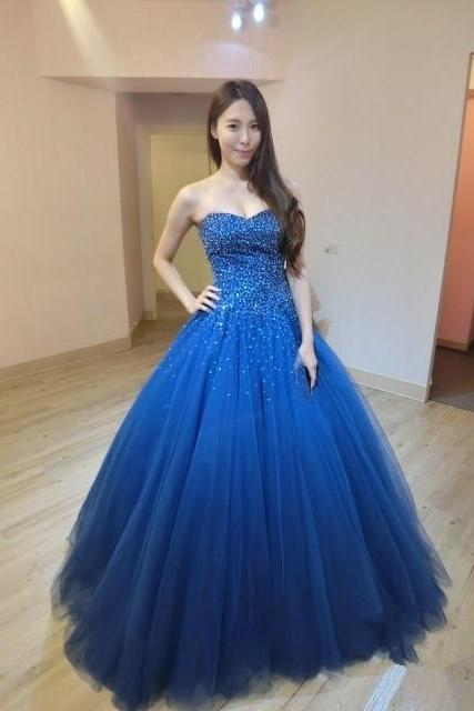 Long Royal Blue Lace-Up Tulle Prom Dress With Beaded Bodice,Floor Length Party Dresses,Ball Gown, Long Sweetheart Prom Dresses 2018