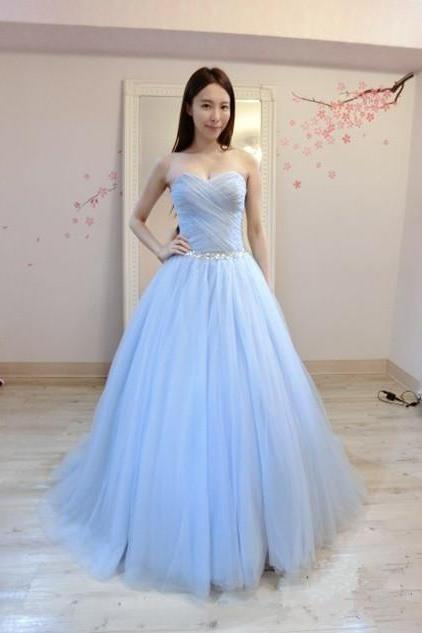 Long Light Blue Tulle Prom Dress With Beaded Bodice,Floor Length Party Dresses,Ball Gown, Long Sweetheart Prom Dresses 2018
