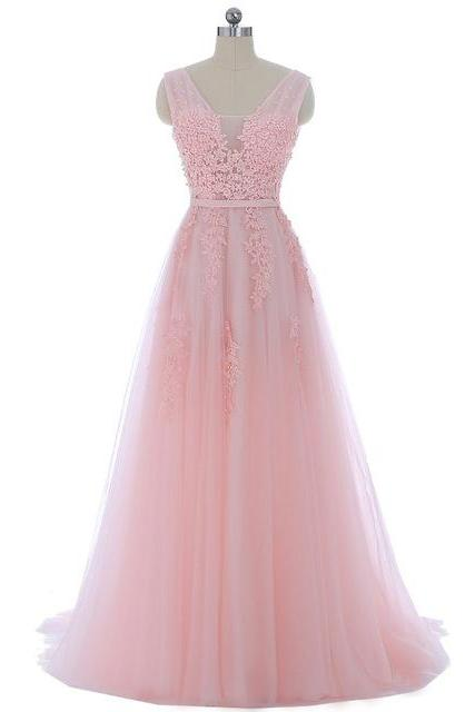 Long Pink Tulle Prom Dress With Lace Applique Bodice,Floor Length Party Dresses, Long A Line V Neck Prom Dresses 2018