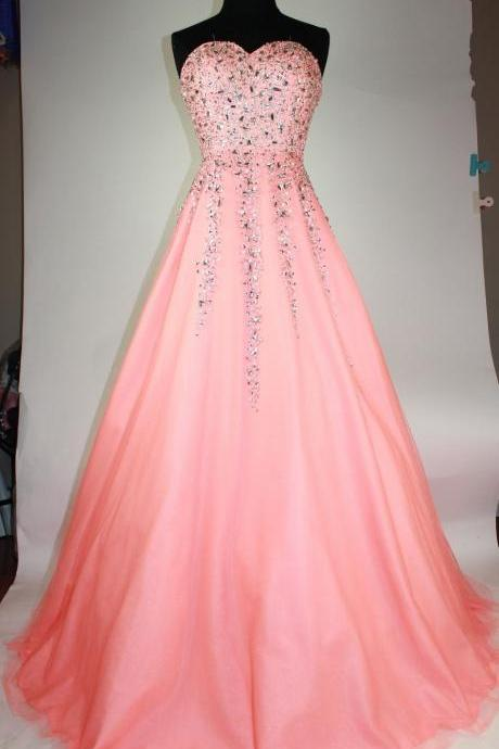 Coral Long Tulle A-Line Beaded Formal Dress Featuring Beaded Sweetheart Neck,Long Elegant Prom Dresses